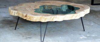 interesnym primerom stilnogo i neobychnogo dekora pomeshheniya yavlyaetsya stol iz Эпоксидная смола для столешниц Artline Wood PRO epoxy (2-компонентная)