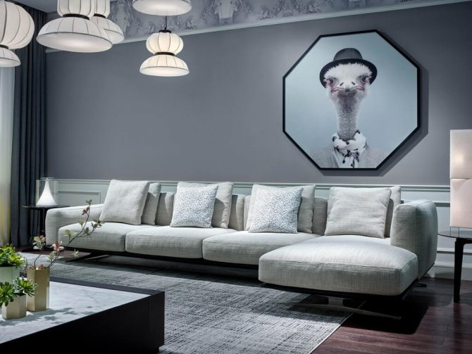monohromnyj interer prostornoj gostinoj Фиолетовый цвет и его оттенки в дизайне интерьера